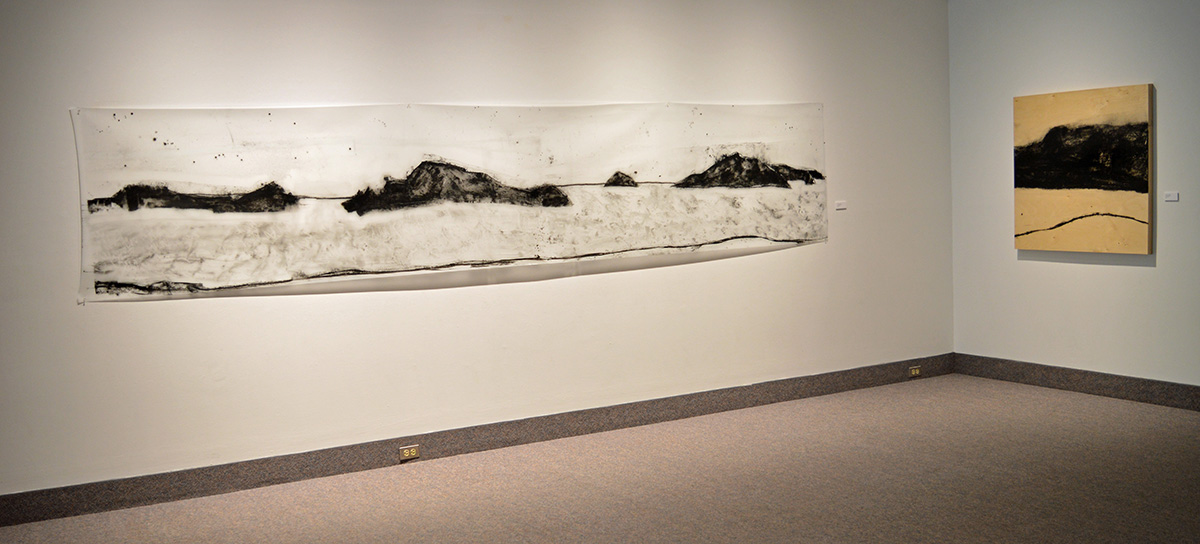 "Gerald Pedros: Beach Drawing #18, mixed media, 36""x188""  and Beach Drawing #10, mixed media, 40""x40"", 2015"